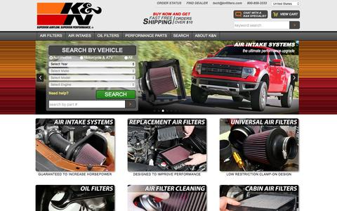 Screenshot of Home Page knfilters.com - K&N Performance Air Filters, Air Intakes & Oil Filters - captured Aug. 20, 2016