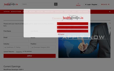 Screenshot of Jobs Page healthgenie.in - Careers   Healthgenie.in - captured Sept. 21, 2018