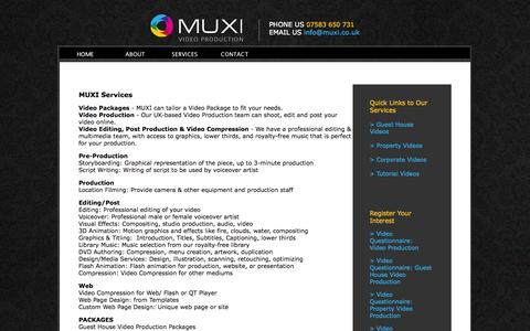 Screenshot of Services Page muxi.co.uk - MUXI Video Production - Services - captured Oct. 4, 2014