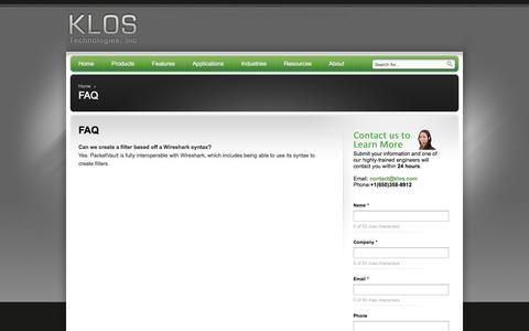 Screenshot of FAQ Page klos.com - FAQ - Klos Technologies, Inc - Klos Technologies, Inc - captured Oct. 6, 2014
