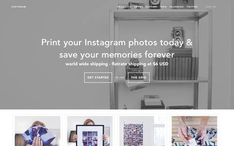 Screenshot of Home Page About Page Privacy Page Products Page Support Page copygr.am - Print Instagram Photos, posters, frames, contact cards - Copygram - captured Sept. 13, 2014