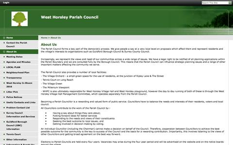 Screenshot of About Page westhorsley.info - West Horsley Parish Council | About Us - captured June 8, 2016