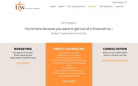 Screenshot of Services Page thecreditwoman.com - -Services | The Credit Woman - captured Sept. 20, 2018