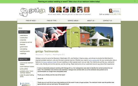Screenshot of Testimonials Page gotugo.com - gotügo Reviews & Customer Testimonials | MD Porta Potty Reviews - captured July 25, 2018