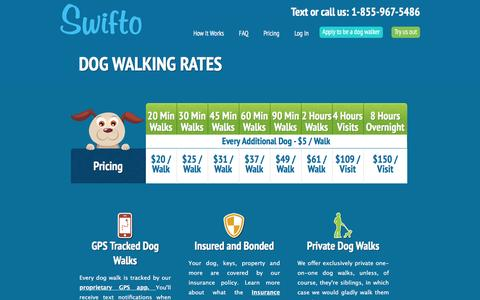 Screenshot of Pricing Page swifto.com - Dog Walking Rates | Swifto | NYC Dog Walking with GPS Tracking - captured July 4, 2016