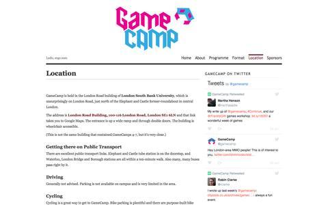 Screenshot of Maps & Directions Page gamecamp.org.uk - Location | GameCamp - captured July 11, 2016