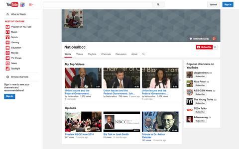 Screenshot of YouTube Page youtube.com - Nationalbcc  - YouTube - captured Nov. 5, 2014