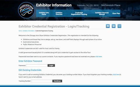 Screenshot of Login Page chicagoautoshow.com - Exhibitor Credential Registration - Login/Tracking | Chicago Auto Show 2014 - captured Sept. 22, 2014