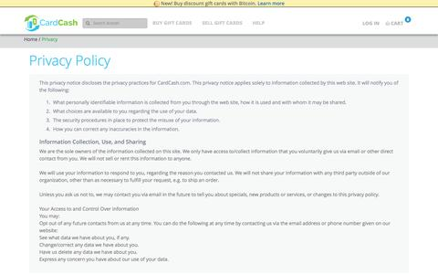 Screenshot of Privacy Page cardcash.com - Privacy Policy | CardCash - captured Nov. 11, 2015