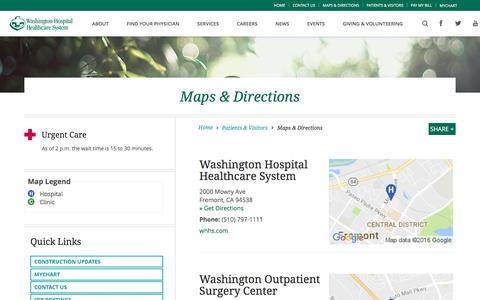 Screenshot of Maps & Directions Page whhs.com - Directions    Washington Hospital Healthcare System - captured Nov. 28, 2016