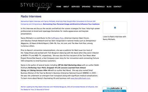 Screenshot of Press Page styleologygroup.com - Radio Interviews | Styleology Group - captured Oct. 7, 2014