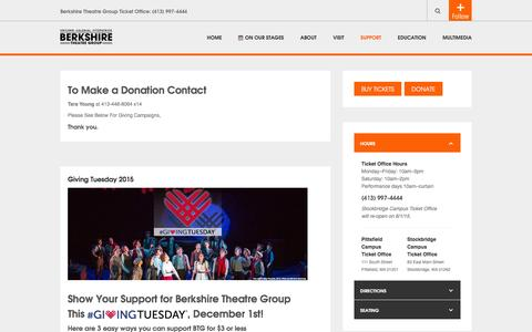 Screenshot of Support Page berkshiretheatregroup.org - Support - captured Feb. 7, 2016