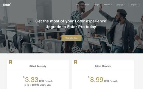 Screenshot of Pricing Page fotor.com - Pricing | Fotor - Photo Editing & Collage Maker & Graphic Design - captured July 13, 2019