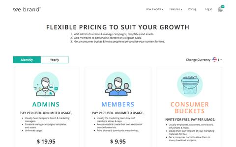 Screenshot of Pricing Page webrand.com - We Brand | Branding, Brand Consistency & Digital Asset Management Software - captured Feb. 2, 2018
