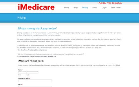 Screenshot of Pricing Page imedicare.com - Pricing « iMedicare iMedicare - captured Sept. 12, 2014