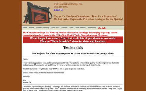Screenshot of Testimonials Page theconcealmentshop.com - Feminine Protection Products Handbags Conceal Concealment Shop Handgun Gun - captured June 30, 2018