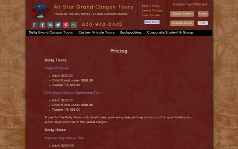 Screenshot of Pricing Page allstargrandcanyontours.com - All-Star Grand Canyon Tours Pricing Guide - captured Oct. 4, 2014