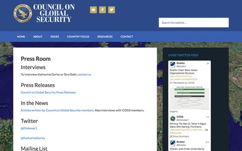 Screenshot of Press Page councilonglobalsecurity.com - Press Room | Council on Global Security - captured Oct. 28, 2014