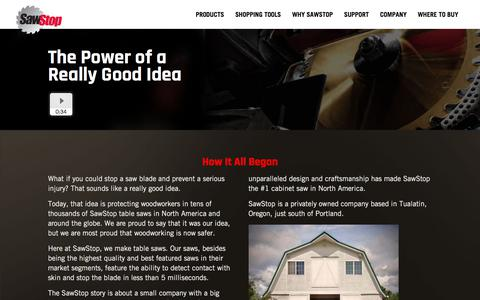 Screenshot of About Page sawstop.com - SawStop | We make North America's best safety saw | SawStop - captured July 28, 2018