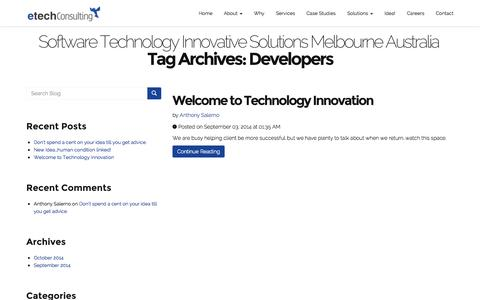 Screenshot of Developers Page etechconsulting.com.au - Developers | Software Technology Innovative Solutions Melbourne Australia - captured Nov. 2, 2014