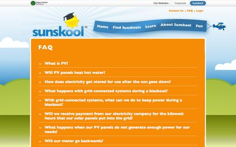 Screenshot of FAQ Page sunskool.com - Sunskool - National Solar in Schools (NSSP) - FAQ - captured Oct. 7, 2014