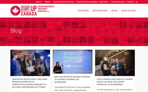 Screenshot of Blog startupcan.ca - Startup Canada   Blog - Startup Canada - captured Sept. 24, 2018