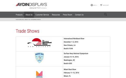 Screenshot of aydindisplays.com - Upcoming Events   Aydin Displays - captured April 21, 2016