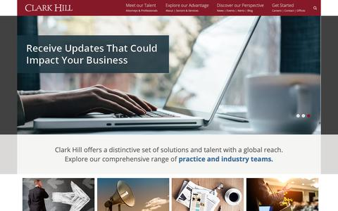 Screenshot of Home Page clarkhill.com - Clark Hill PLC: Business Law Firm & Commercial Litigation - captured Sept. 28, 2018