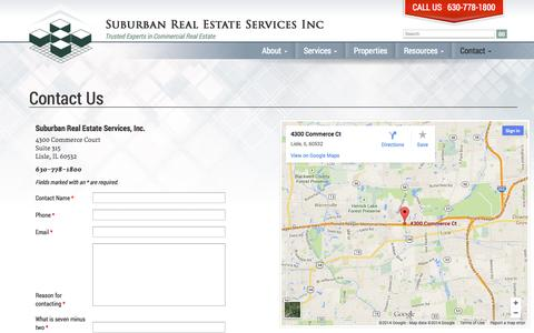 Screenshot of Contact Page suburbanrealestate.com - Contact Us - Suburban Real Estate Services Inc - captured Oct. 7, 2014