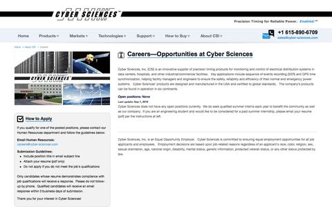 Screenshot of Jobs Page cyber-sciences.com - Careers | Cyber Sciences - captured Sept. 29, 2016