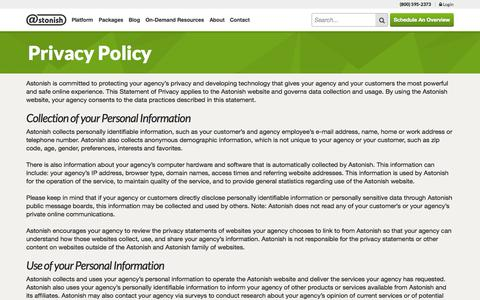 Screenshot of Privacy Page astonish.com - Privacy Policy | Astonish - captured Sept. 13, 2014