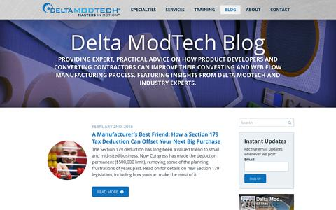 Screenshot of Blog deltamodtech.com - Converting and Manufacturing News | Delta ModTech - captured Feb. 9, 2016