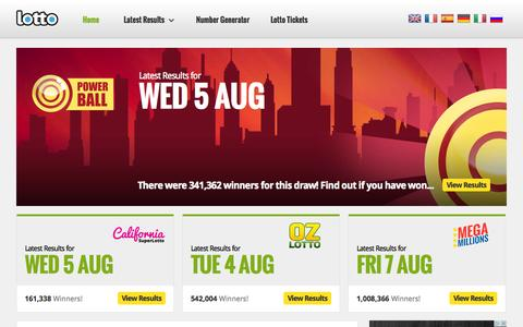 Screenshot of Home Page lotto.net - Lotto | The Official Lotto.net Website - Lotto.net - captured Aug. 8, 2015