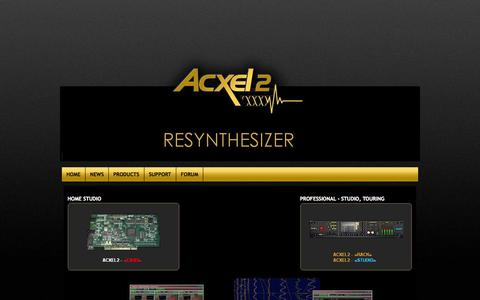 Screenshot of Home Page acxel2.com - Acxel2 ...the formula 1 of synthesizer - captured Oct. 4, 2014