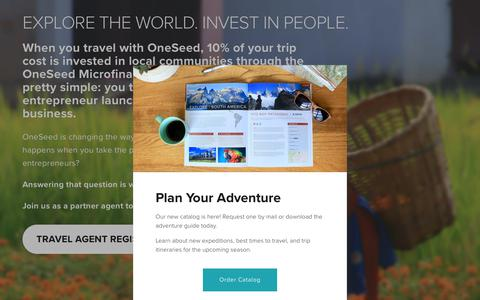 Screenshot of Signup Page oneseedexpeditions.com - Agent Landing Page — OneSeed Expeditions - captured Nov. 4, 2018