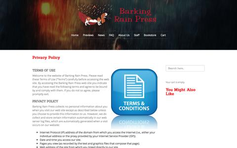 Screenshot of Privacy Page barkingrainpress.org - Barking Rain Press  » Privacy Policy - captured July 28, 2016