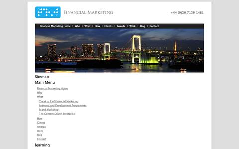 Screenshot of Site Map Page financialmarketing.com - Sitemap - captured Nov. 3, 2014