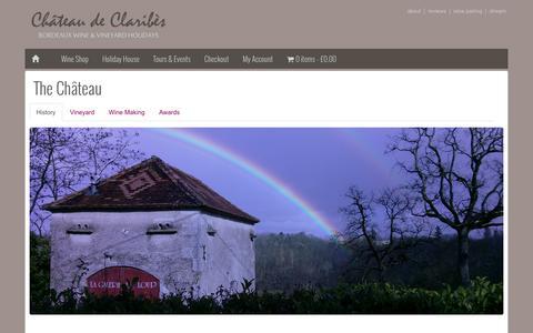 Screenshot of About Page claribes.com - The Château - Château de Claribès - Organic Bordeaux Wine Estate - captured Oct. 2, 2014
