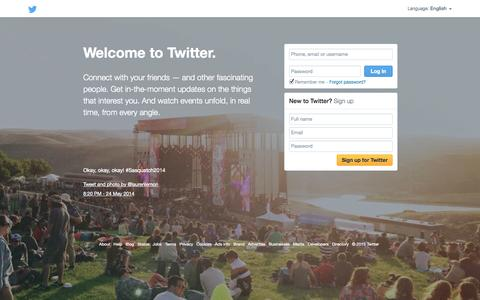Screenshot of Home Page twitter.com - Welcome to Twitter - Login or Sign up - captured Jan. 15, 2015