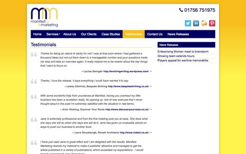 Screenshot of Testimonials Page manifestmarketing.co.uk - Testimonials - Manifest PR and Marketing - captured Oct. 4, 2014