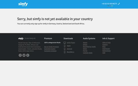 Screenshot of Pricing Page simfy.de - Not available - captured Sept. 17, 2014
