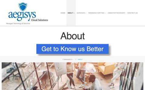 Screenshot of About Page aegisys.com - About - IT Managed Services & Solutions Provider - captured July 29, 2018
