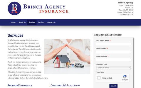 Screenshot of Services Page brinchagency.com - Services - Brinch AgencyBrinch Agency - captured Oct. 6, 2018