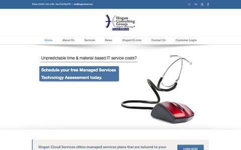 Screenshot of Home Page hogancloud.com - Hogan Cloud Services - captured Oct. 2, 2014