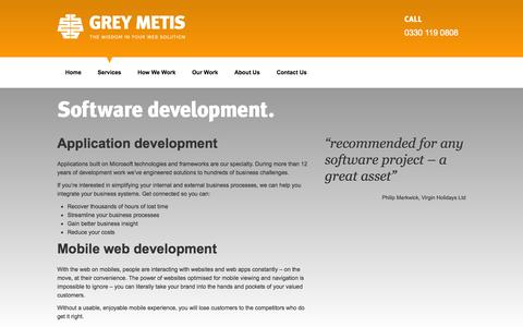 Screenshot of Services Page greymetis.co.uk - Software development and consultancy services | Grey Metis - captured Oct. 3, 2014