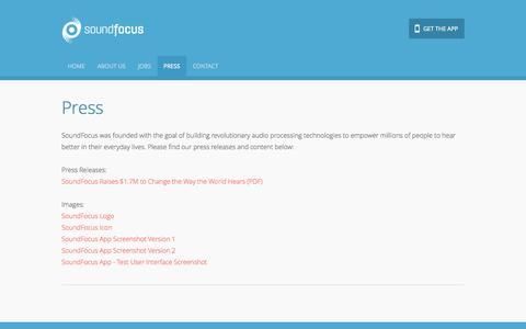 Screenshot of Press Page soundfocus.com - SoundFocus - Press - captured Oct. 28, 2014