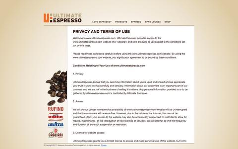 Screenshot of Privacy Page ultimateespresso.com - Privacy and Terms of Use | Ultimate Espresso - captured June 11, 2017