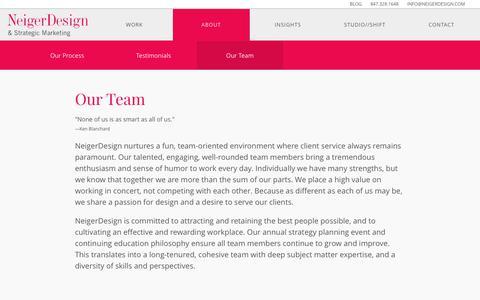 Screenshot of Team Page neigerdesign.com - NeigerDesign's multi-disciplinary staff collaborate using a client-centric approach. - captured June 12, 2017