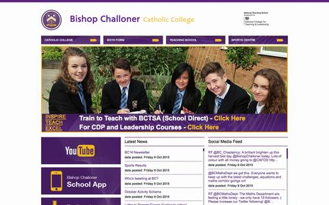 Screenshot of Home Page bishopchalloner.org.uk - Home | Bishop Challoner Catholic College - captured Oct. 11, 2015