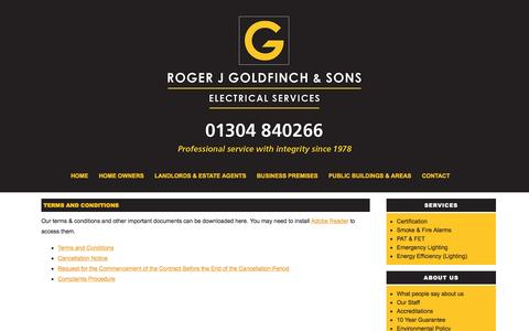 Screenshot of Terms Page rjgoldfinch.co.uk - Terms and Conditions - Roger J Goldfinch & Sons - captured Feb. 15, 2016